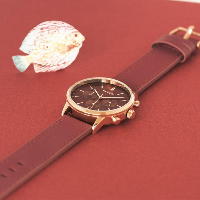 OOZOO Timepieces - unisex - leren band biking rood met rosé goud horlogekast