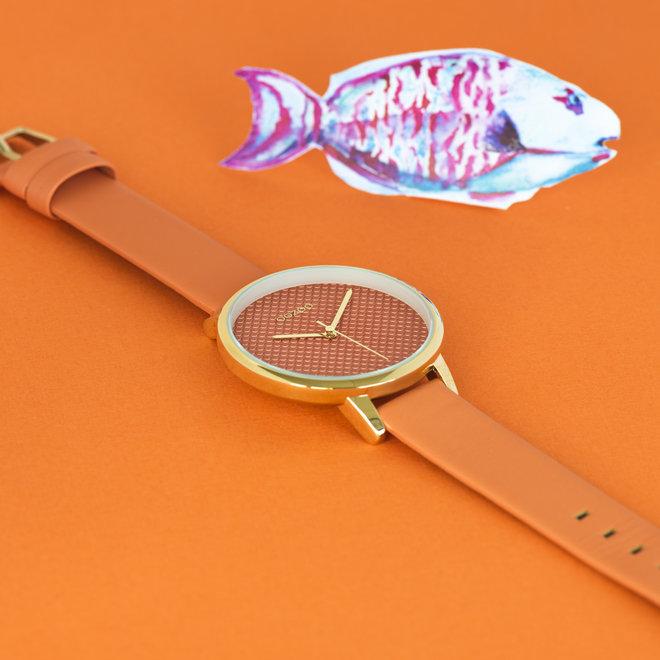 OOZOO Timepieces - femmes - bracelet en cuir dusty orange met or horlogekast