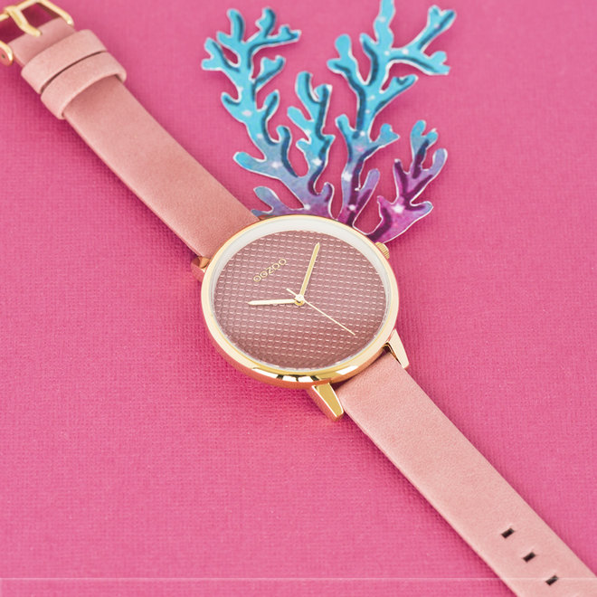 OOZOO Timepieces - ladies - leather strap old pink with gold watch case