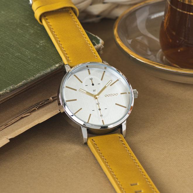 OOZOO Timepieces - unisex - leren band mosterd met zilver horlogekast