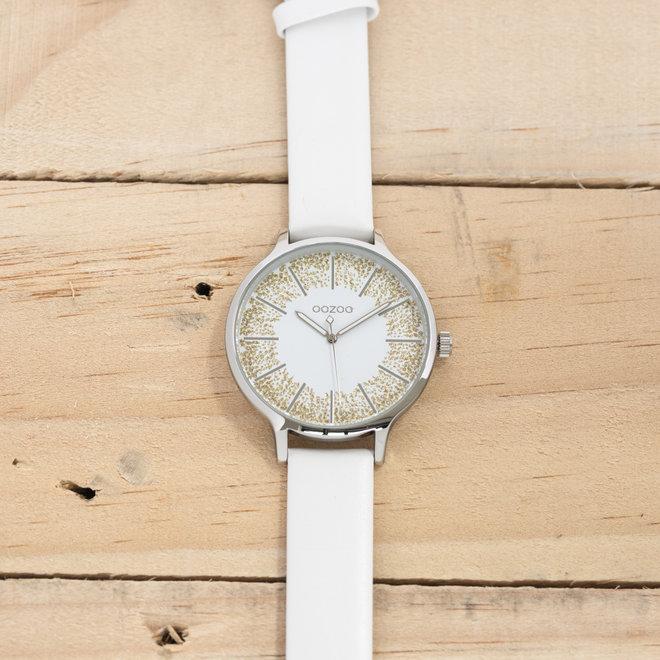 OOZOO Timepieces - femmes - bracelet en cuir blanc met argent horlogekast