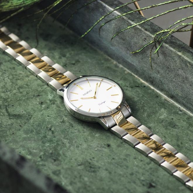 Next Generation - unisex - stainless steel armband zilver-goud met zilver horlogekast