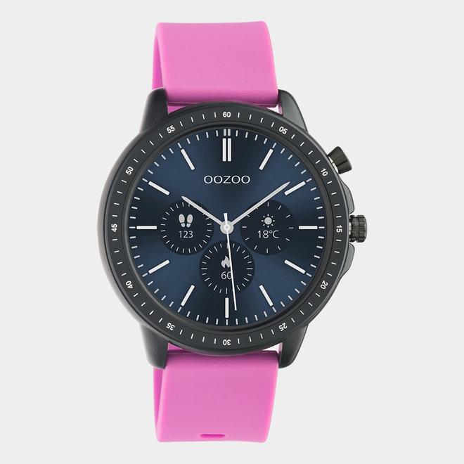 OOZOO Smartwatches - unisexe - bracelet en caoutchouc rose raspberry avec boîtier noir