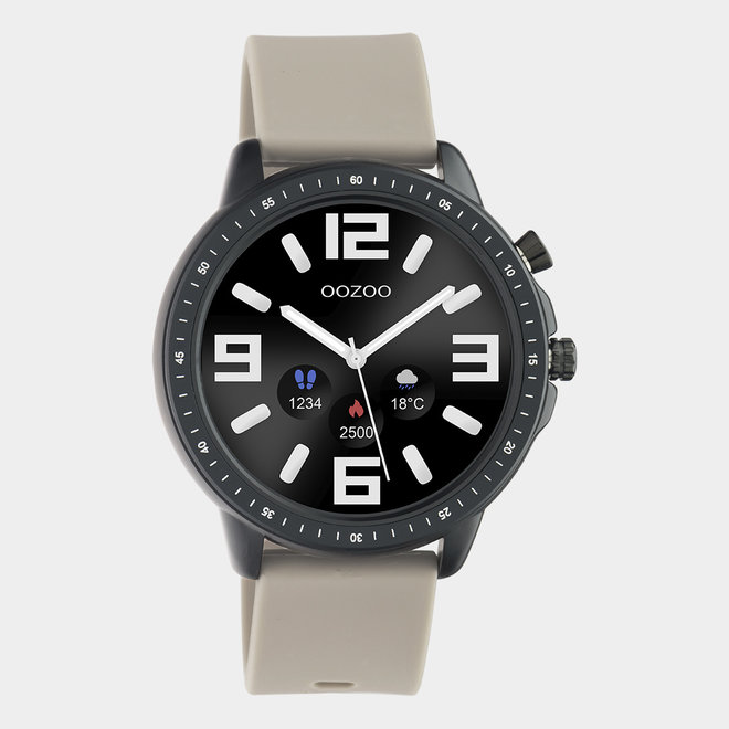 OOZOO Smartwatches - unisex - rubber watch strap taupe with black case