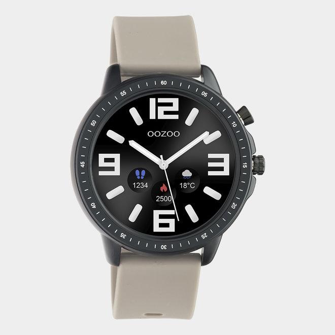OOZOO Smartwatches - unisexe - bracelet en caoutchouc taupe / noir
