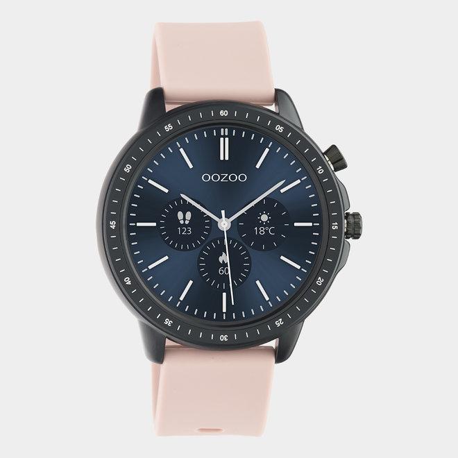 OOZOO Smartwatches - unisex - rubber horlogeband zacht roze met zwart gekleurde kast