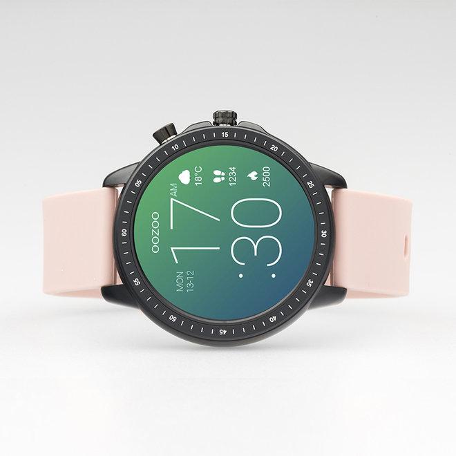 OOZOO Smartwatches - unisexe - bracelet en caoutchouc rose tendre avec boîtier noir
