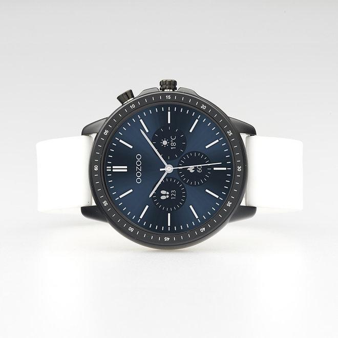 OOZOO Smartwatches - unisexe - bracelet en caoutchouc blanc avec boîtier noir