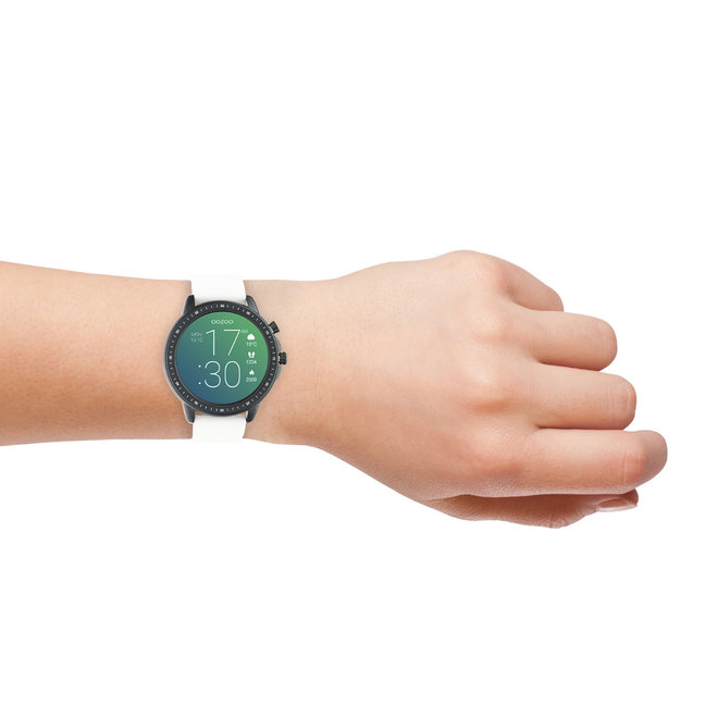 OOZOO Smartwatches - unisex - rubber horlogeband wit met zwart gekleurde kast