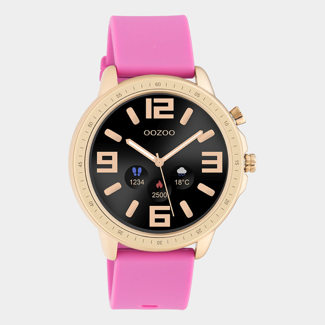 OOZOO Smartwatches - unisex - rubber watch strap raspberry pink / rose gold