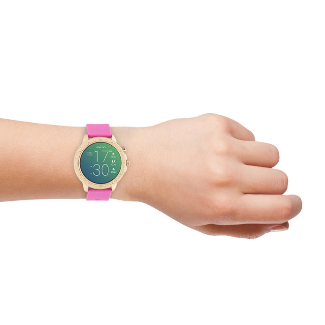 OOZOO Smartwatches - unisex - rubber watch strap raspberry pink with rose gold case