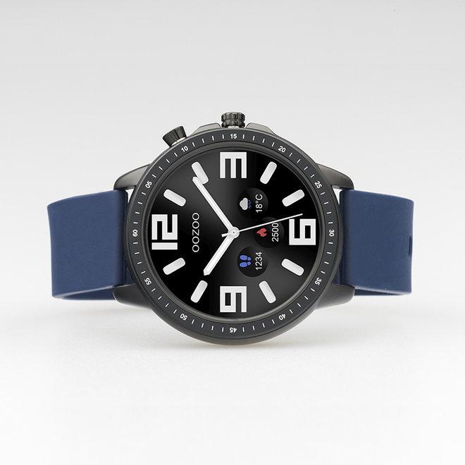 OOZOO Smartwatches - unisexe - bracelet en caoutchouc bleu foncé avec boîtier noir