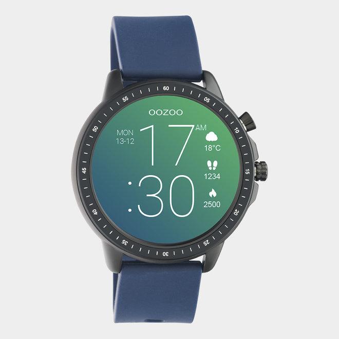 OOZOO Smartwatches - unisexe - bracelet en caoutchouc bleu foncé / noir