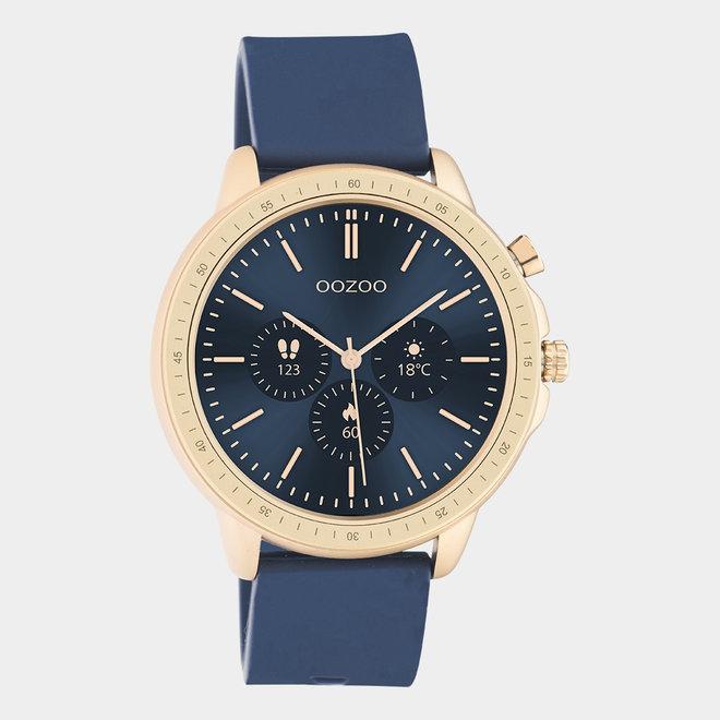 OOZOO Smartwatches - unisexe - bracelet en caoutchouc bleu foncé / or rose