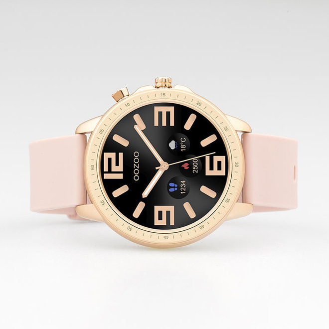 OOZOO Smartwatches - unisex - rubber watch strap pink grey with rose gold case