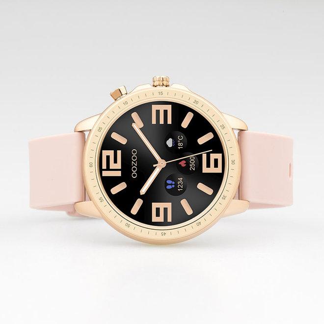 OOZOO Smartwatches - unisexe - bracelet en caoutchouc rose tendre avec boîtier or rose