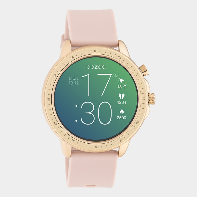 OOZOO Smartwatches - unisex - rubber watch strap pink grey / rose gold