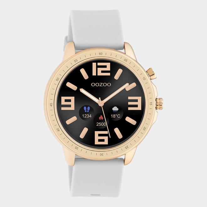 OOZOO Smartwatches - unisexe - bracelet en caoutchouc gris pierre avec boîtier or rose