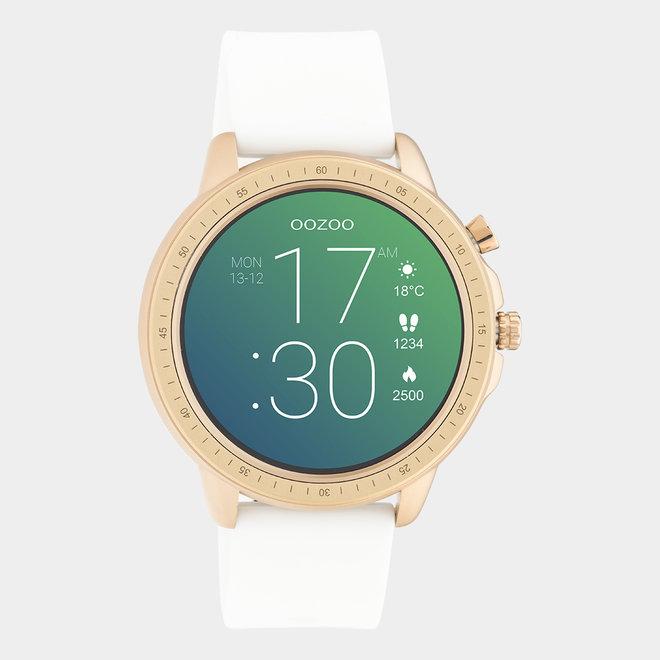 OOZOO Smartwatches - unisexe - bracelet en caoutchouc blanc / or rose