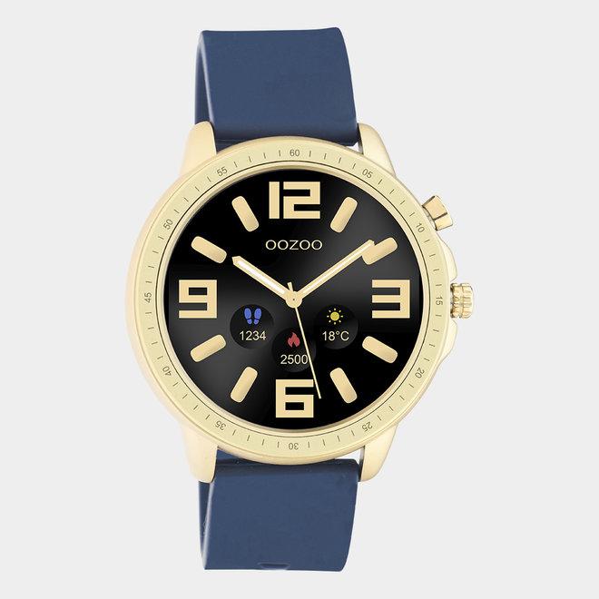 OOZOO Smartwatches - unisexe - bracelet en caoutchouc bleu foncé avec boîtier or
