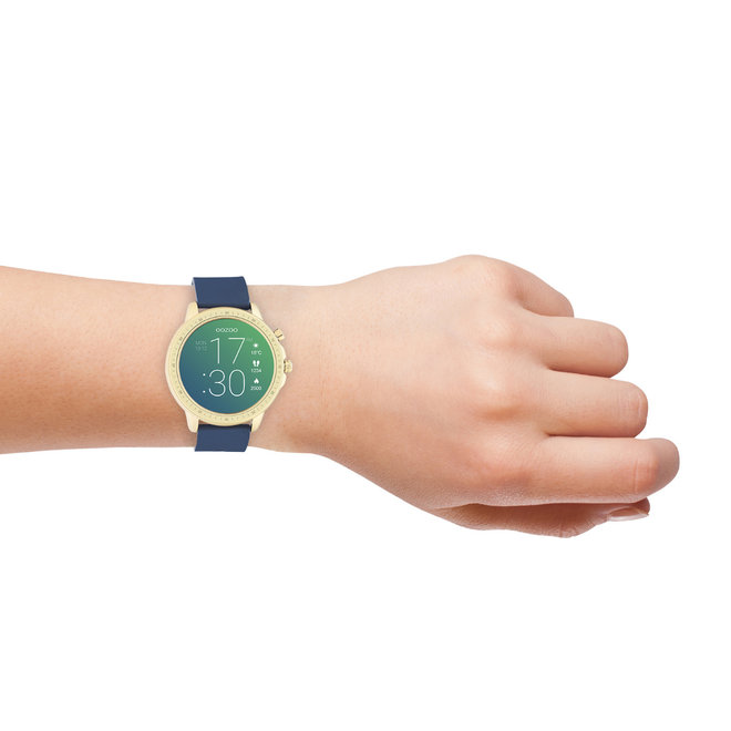 OOZOO Smartwatches - unisex - rubber horlogeband donker blauw met goud gekleurde kast