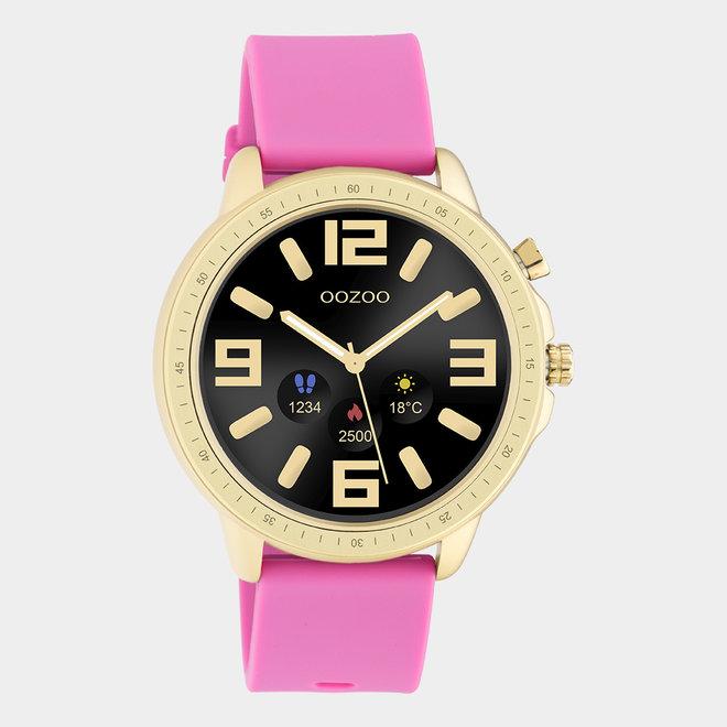 OOZOO Smartwatches - unisexe - bracelet en caoutchouc rose raspberry avec boîtier or