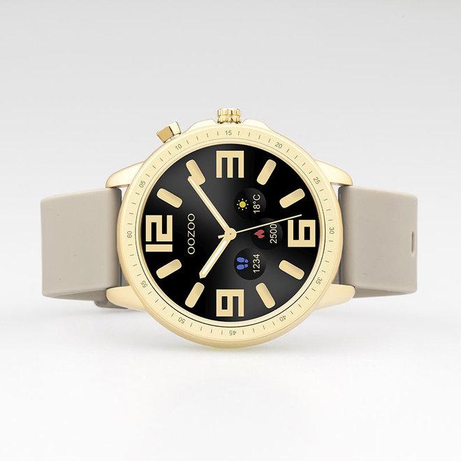 OOZOO Smartwatches - unisexe - bracelet en caoutchouc taupe avec boîtier or