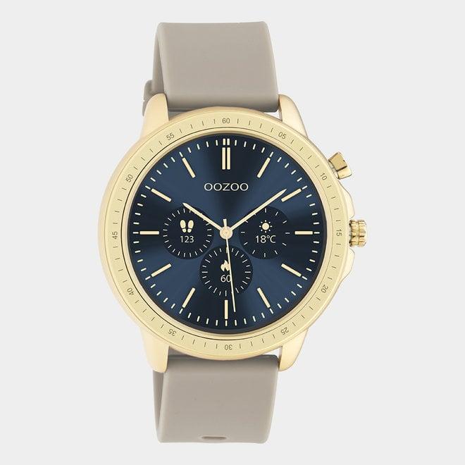 OOZOO Smartwatches - unisex - rubber horlogeband taupe met goud gekleurde kast