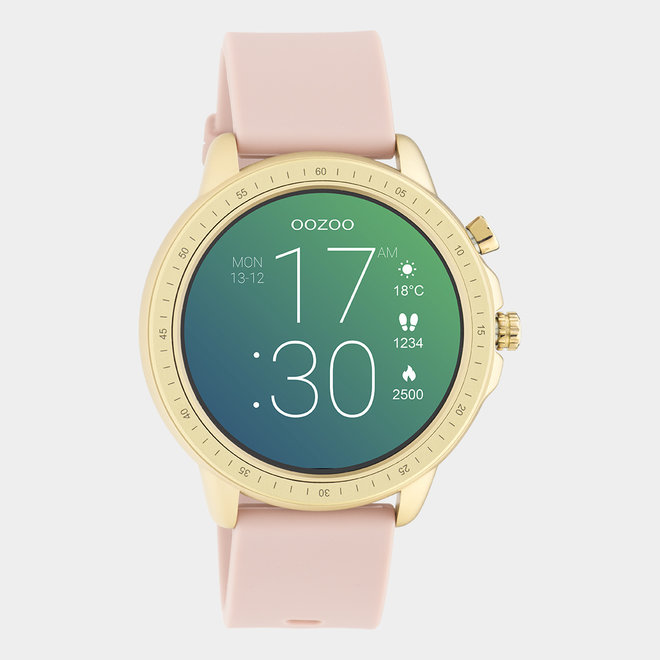 OOZOO Smartwatches - unisex - rubber watch strap pink grey / gold