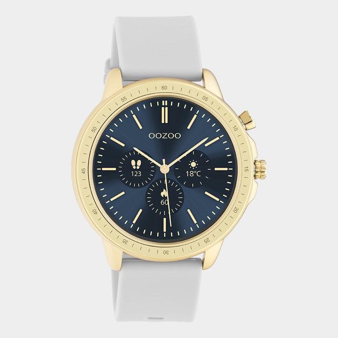 OOZOO Smartwatches - unisexe - bracelet en caoutchouc gris pierre avec boîtier or