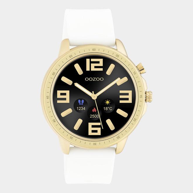 OOZOO Smartwatches - unisexe - bracelet en caoutchouc blanc / or