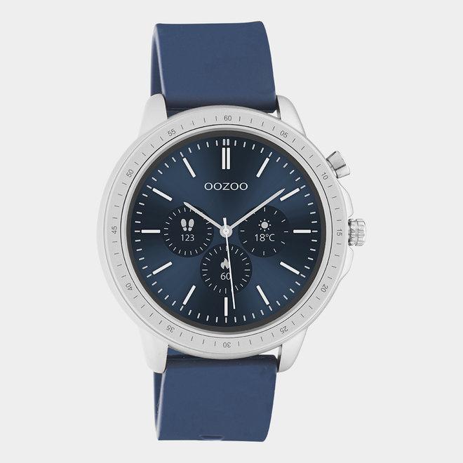 OOZOO Smartwatches - unisexe - bracelet en caoutchouc bleu foncé avec boîtier argent