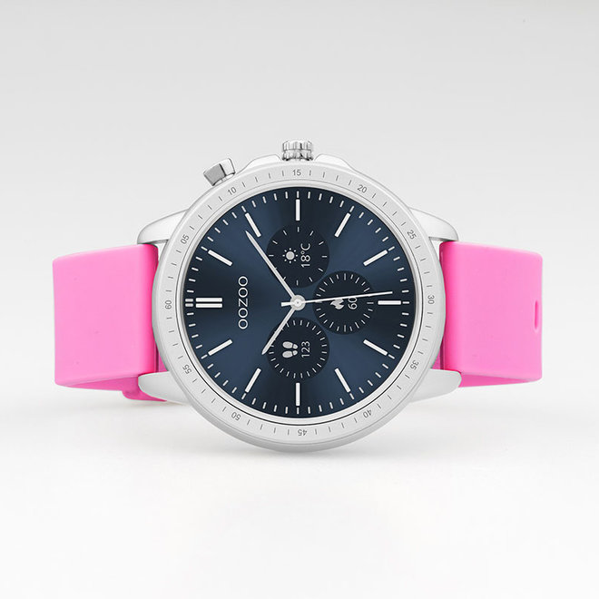 OOZOO Smartwatches - unisex - rubber watch strap raspberry pink with silver case