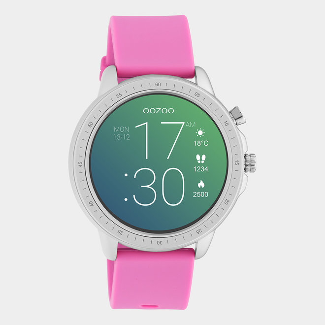 OOZOO Smartwatches - unisex - rubber watch strap raspberry pink / silver