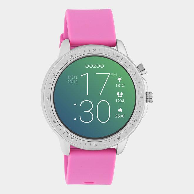 OOZOO Smartwatches - unisexe - bracelet en caoutchouc rose raspberry / argent