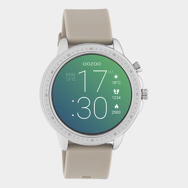OOZOO Smartwatches - unisex - rubber horlogeband taupe met zilver gekleurde kast