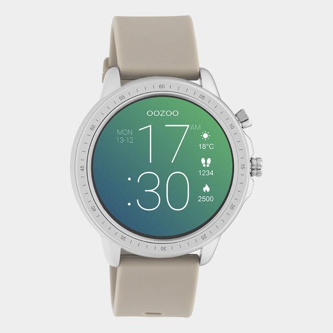 OOZOO Smartwatches - unisexe - bracelet en caoutchouc taupe / argent