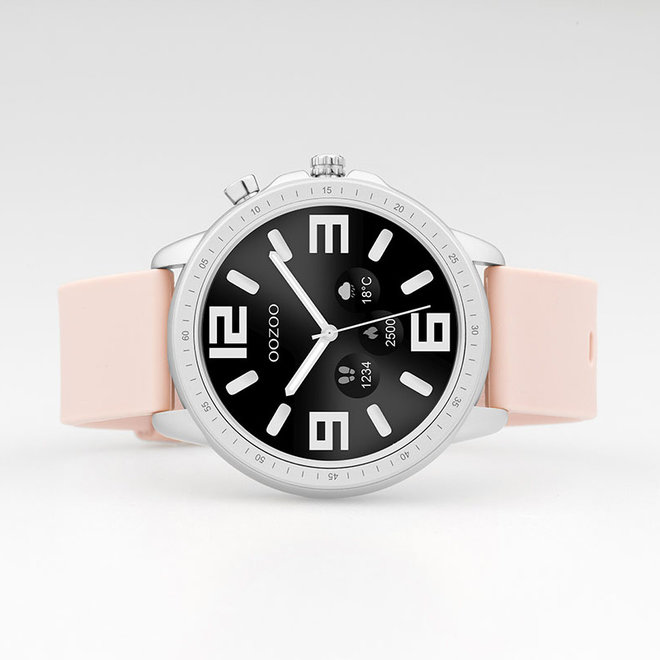 OOZOO Smartwatches - unisex - rubber watch strap pink grey with silver case