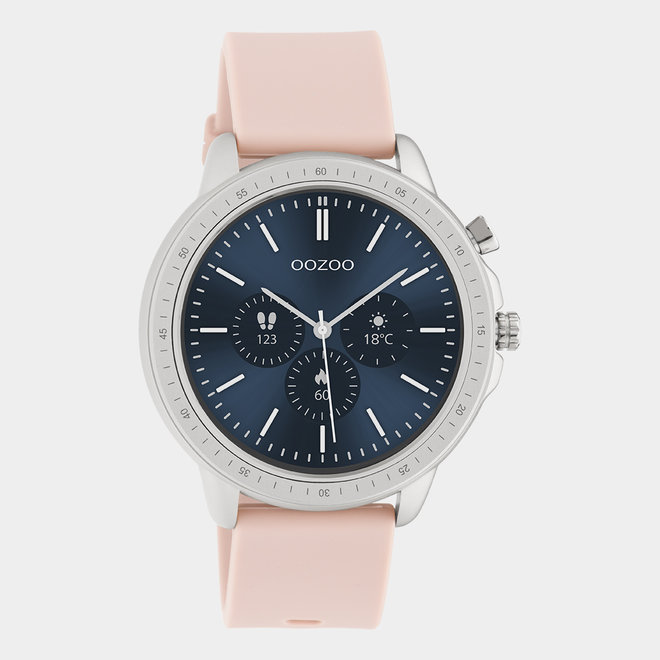 OOZOO Smartwatches - unisex - rubber horlogeband zacht roze / zilver