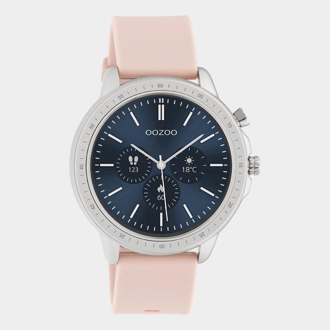 OOZOO Smartwatches - unisexe - bracelet en caoutchouc rose tendre / argent