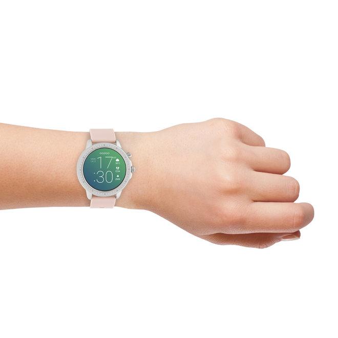 OOZOO Smartwatches - unisexe - bracelet en caoutchouc rose tendre avec boîtier argent