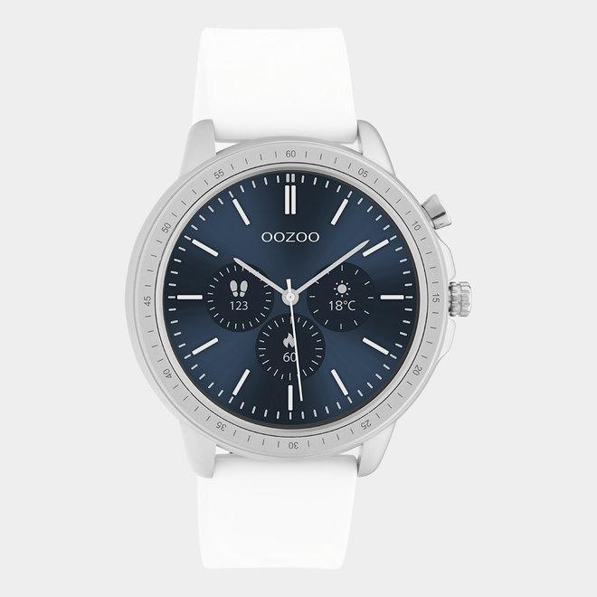 OOZOO Smartwatches - unisexe - bracelet en caoutchouc blanc / argent