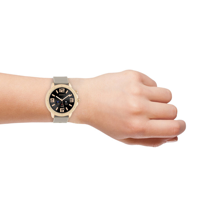 OOZOO Smartwatches - unisex - rubber strap taupe with rose gold case