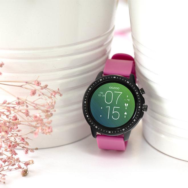 OOZOO Smartwatches - unisex - rubber horlogeband raspberry roze met zwart gekleurde kast