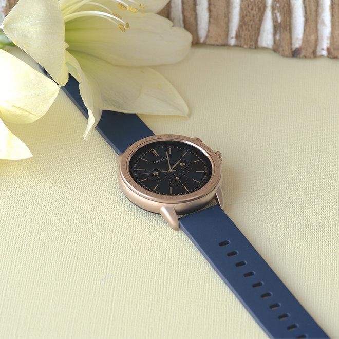 OOZOO Smartwatches - unisex - rubber horlogeband donker blauw met rosé goud gekleurde kast