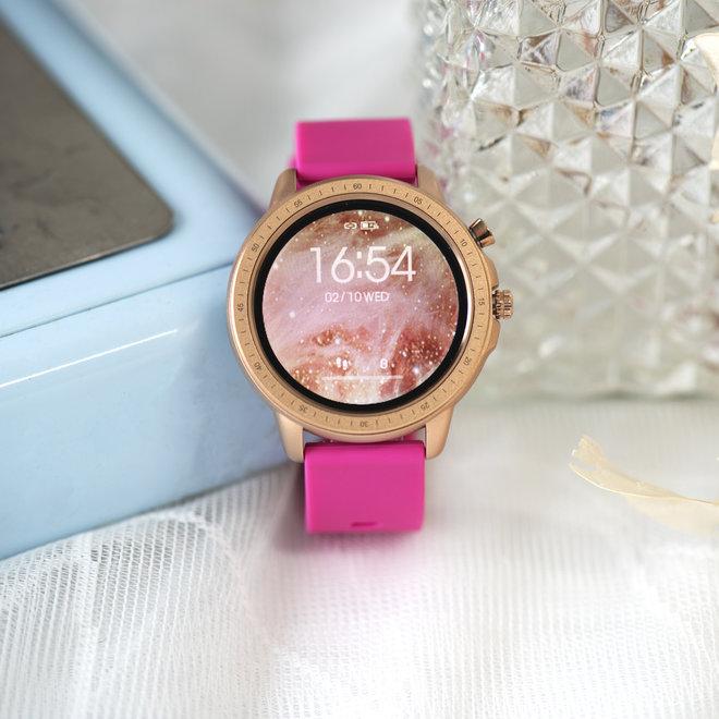 OOZOO Smartwatches - unisexe - bracelet en caoutchouc rose raspberry avec boîtier or rose