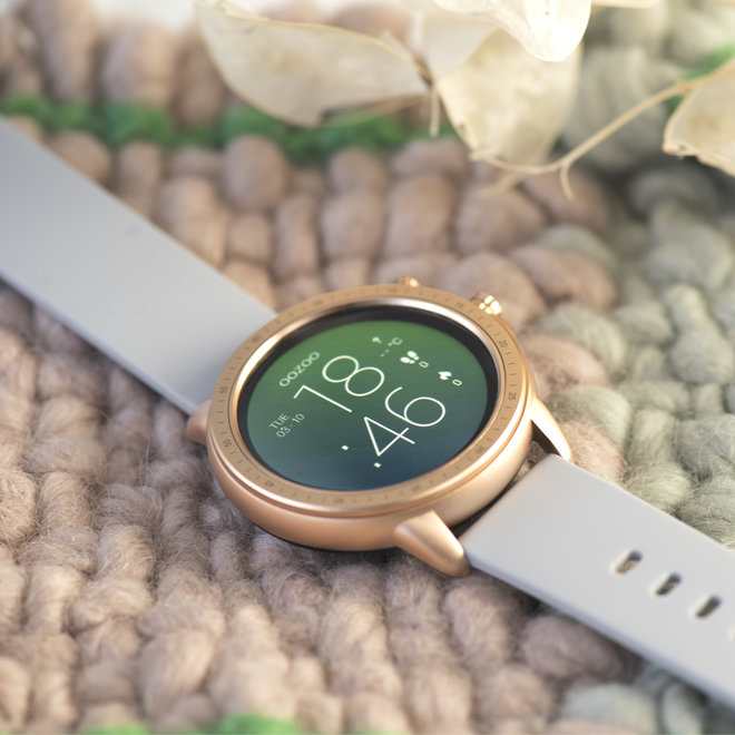 OOZOO Smartwatches - unisex - rubber watch strap stone grey with rose gold case