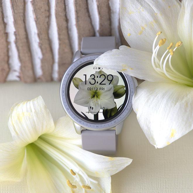 OOZOO Smartwatches - unisexe - bracelet en caoutchouc taupe avec boîtier argent