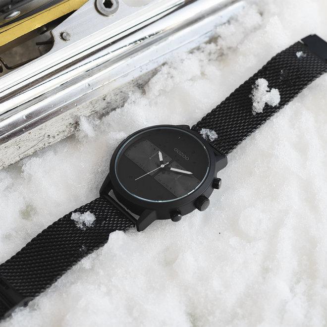 OOZOO Timepieces - hommes - bracelet en mesh noir met noir horlogekast