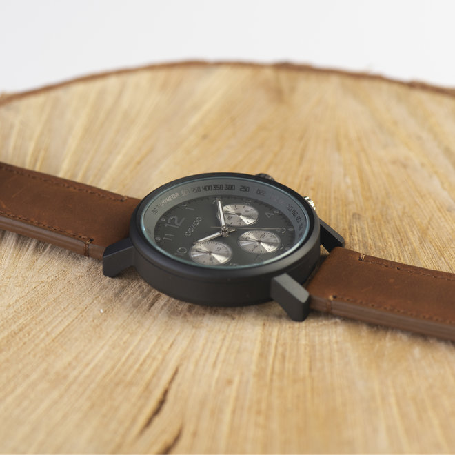 OOZOO Timepieces - gents - leather strap mid brown with black watch case